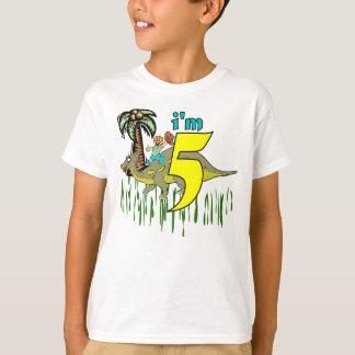 Camiseta Dinossauro do aniversário do menino 5o