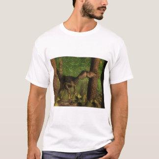 Camiseta Dinossauro do Velociraptor na floresta