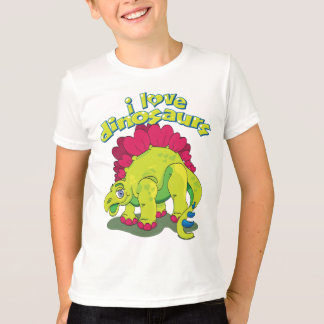 Camiseta Dinossauro feliz verde-claro & cor-de-rosa