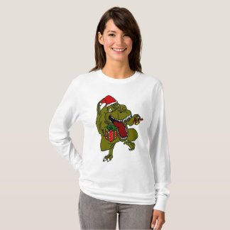 Camiseta Dinossauro louco do Natal