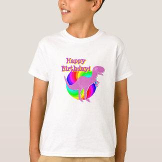 Camiseta Dinossauro T-Rex do rosa do feliz aniversario