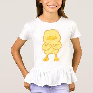 Camiseta Distintivo do t-shirt A do plissado das meninas