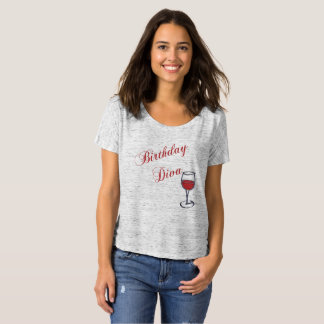 Camiseta Diva do aniversário com vidro de vinho