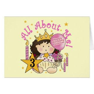 Camiseta do aniversário de 3 anos da princesa Todo Cartão Comemorativo