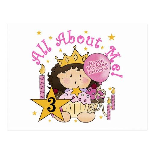 Camiseta do aniversário de 3 anos da princesa Todo Cartao Postal