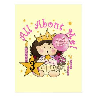 Camiseta do aniversário de 3 anos da princesa Todo Cartoes Postais