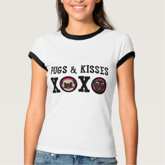 Camiseta do branco dos Pugs & dos beijos XOXO
