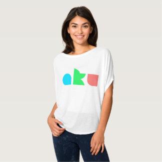 Camiseta Do círculo branco de Flowy do logotipo da cor de