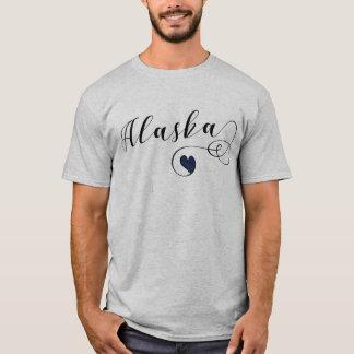 Camiseta do coração de Alaska, bandeira do Alasca