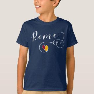 Camiseta do coração de Roma, Italia, bandeira