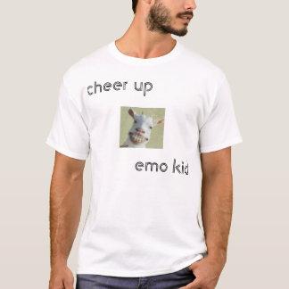 Camiseta do elogio miúdo do emo acima
