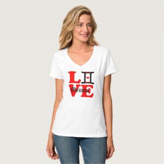 Camiseta 😍 do ♊★ eu amo o V-Pescoço Nano do sinal do