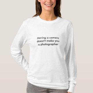 Camiseta Do fotógrafo longo do t-shirt | da luva das