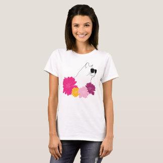 """Camiseta Do """"gato verão"""" com sunglass e flores"""