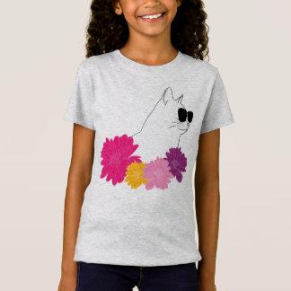 """Camiseta Do """"gato verão"""" com sunglass e flores da coloração"""