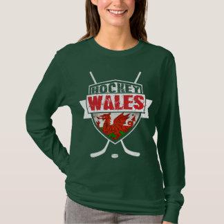 Camiseta do hóquei em gelo de Galês, bandeira de