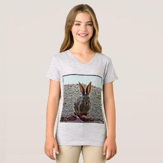 Camiseta do jérsei de menina da princesa coelho