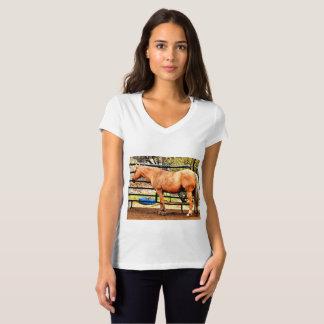 Camiseta do jérsei do pescoço do Vee das mulheres