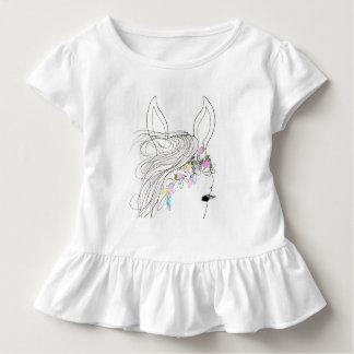 Camiseta do plissado da menina da criança com