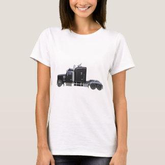 Camiseta Do preto caminhão semi com luzes completas na