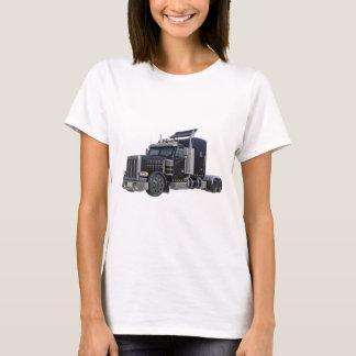 Camiseta Do preto caminhão semi com luzes sobre em uns três