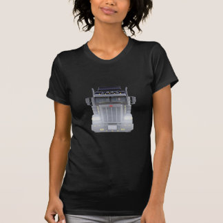Camiseta Do preto caminhão semi com luzes sobre na vista
