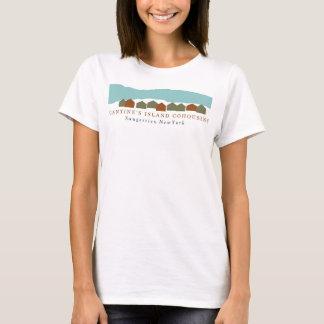 Camiseta Do t-shirt CI (branco) do cr 100% azul do algodão,