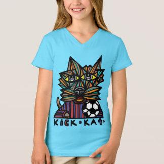 """Camiseta Do """"t-shirt do V-Pescoço das meninas do Kat"""
