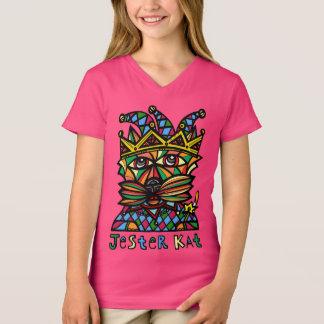 """Camiseta Do """"t-shirt do V-Pescoço das meninas do Kat bobo"""