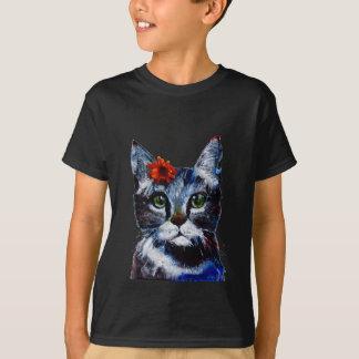 Camiseta Doce de fruta, o gato bonito que veste uma flor