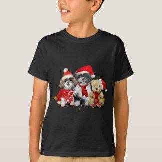 Camiseta Dois cães de Shih Tzu do Natal & ursos de ursinho