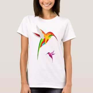 Camiseta Dois colibris coloridos do vôo