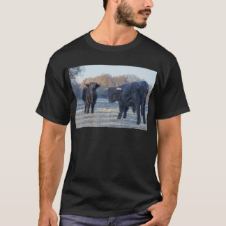Camiseta Dois escoceses escoceses pretos no prado congelado