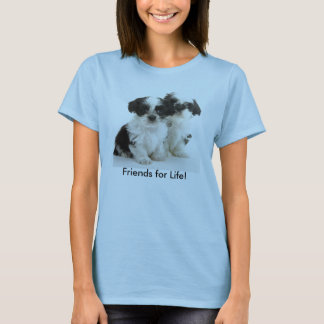 Camiseta Dois filhotes de cachorro de Shih Tzu - amigos