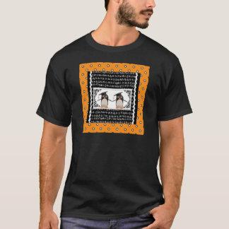 Camiseta Dois pinguins de graduação, ABC Scalloped o fundo