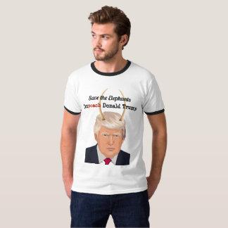 Camiseta Donald Trump com os chifres do diabo do trunfo do