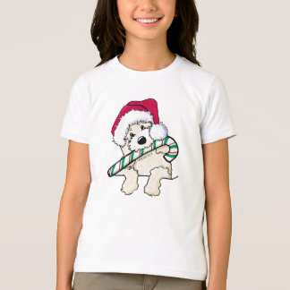 Camiseta Doodle do papai noel de KiniArt com Candycane
