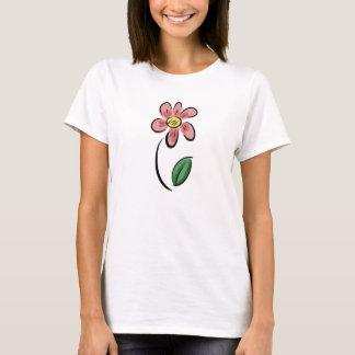 Camiseta Doodle floral do esboço dos desenhos animados