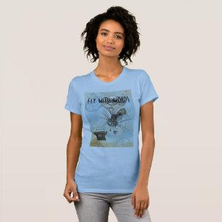 Camiseta dos escritores - mosca com palavras