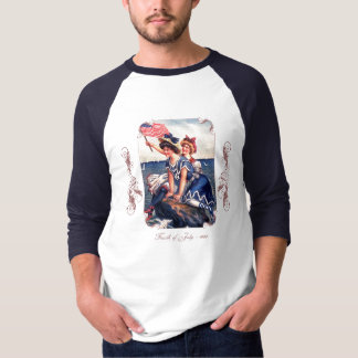 Camiseta Dos homens patrióticos dos nadadores do vintage a
