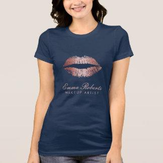 Camiseta Dos lábios cor-de-rosa do ouro do maquilhador