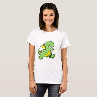 Camiseta Dragão verde dos desenhos animados que anda em