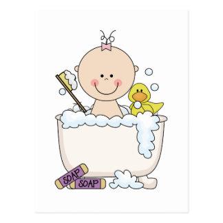 Camiseta e presentes da menina do tempo do banho cartão postal