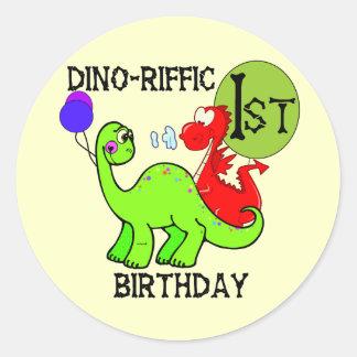 Camiseta e presentes do aniversário do dinossauro  adesivo em formato redondo