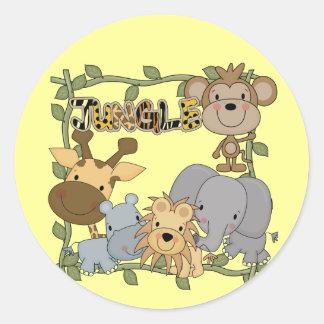 Camiseta e presentes dos animais da selva do bebê adesivo