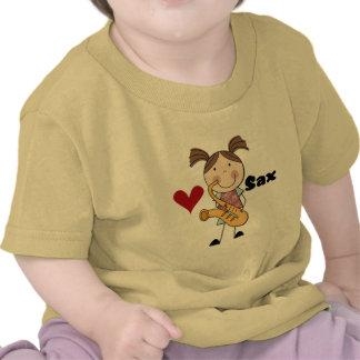 Camiseta e presentes fêmeas do jogador de saxofone