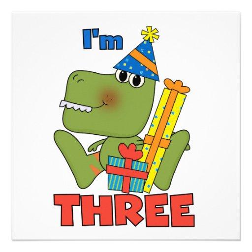 Camiseta e presentes pequenos do aniversário de 3  convite personalizado