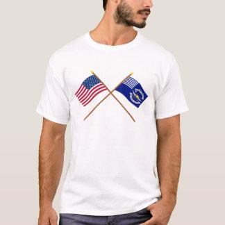 Camiseta E.U. cruzados e ?as bandeiras dos Dragoons da luz