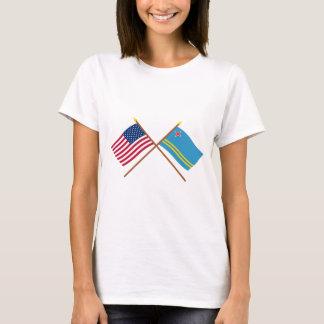 Camiseta E.U. e bandeiras cruzadas Aruba