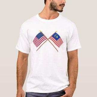 Camiseta E.U. e bandeiras cruzadas Malaysia
